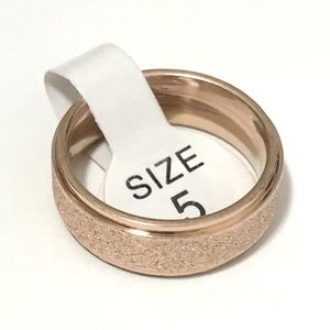 Rose Gold Tone Frosted Ring, Size 5